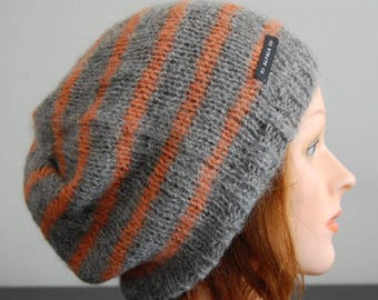 Natural RIAF Soft Warm Hand Crafted Striped Alpaca Slouchy Beanie Hat, Gray and Orange