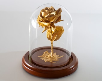 Origami rose in gold color small decorative globe -MADE TO ORDER