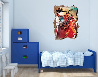 Michael Jordan Jumping -  3D smashed wall -  Wall Decal For Home Nursery Decoration