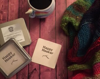 "Eight ""Happy Hooker"" Crochet-Themed Letterpress Coasters (4""x4"") in Metal Tin with Window"