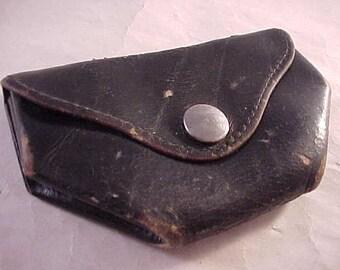 Porte monnaie en cuir noir extensible