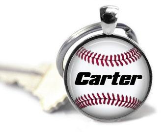 Sports Custom Name Keychain, Baseball Keychain
