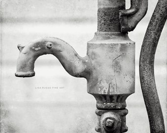 Black And White Bathroom Print Or Canvas Art, Water Faucet Print, Black And  White