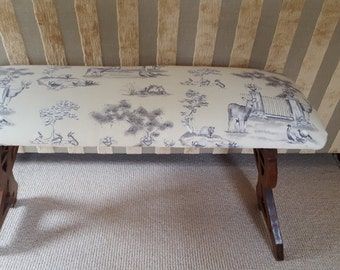 Upholstered ANTIQUE PINE BENCH  .... woodland fabric