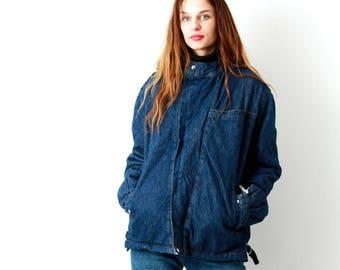 Vintage 80s Denim Sherpa Jacket / Trucker Jacket / Fur Lined Blue Jean Coat / Shearling Jacket / Size M