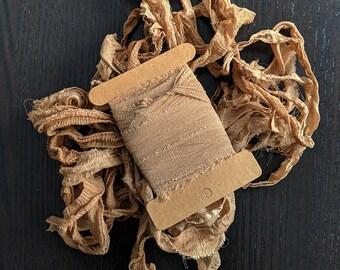Walnut 18, Plant Dyed Crepe Silk Sari Ribbon, 5 yards ea.