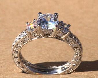 Diamond Engagement Ring - VINTAGE style - 1.85 carat Round - 14K white gold - Luxury- Brides- Engagement -bp006