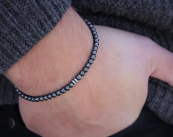 Men's Bracelet Hematite Slim Bracelet Stacking Bracelet for Men Mens Beaded Bracelet Mens Christmas Gift Men  stackable Thin Bracele