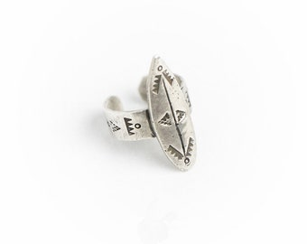 Surf series handmade silver surf shortboard ring with totem