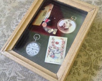 Nan Hall Lombardi Handmade Artist Brooch Best Wishes 1991 Vintage Wood GlassMixed Media Assemblage 90s