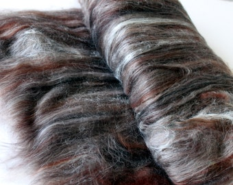 Carded Batt Merino & Silk Chocolate Truffle Fine Merino Wool  for Spinning or Felting 100g 3.5oz
