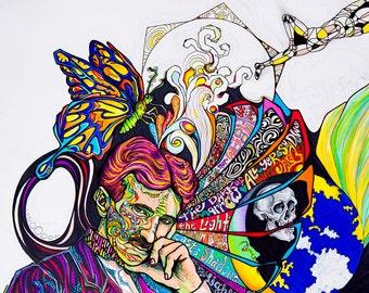 Mind of Tesla ~ Original Psychedelic Illustration ~ Portrait of the Genius Nikola