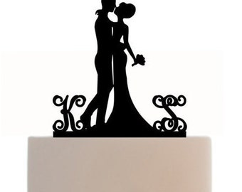 Custom Wedding Cake Topper Silhouette With 2 Monogram Personalized Initials for Groom & Bride, choice of color,