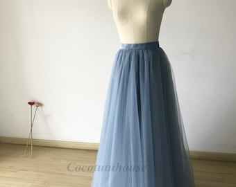 Hot sale Many Colors. Dusty Blue Tulle Skirt/Women Tulle skirt/Short Tulle skirt/Wedding Dress Underskirt/Bridesmaid/Bachelorette TuTu