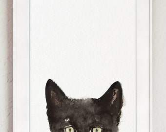 Peeking Cat Art Print, Animals Painting, Whimsical Cat Poster, Funny Animal Black Cat Drawing, Kitten Ink Illustration Home Decor