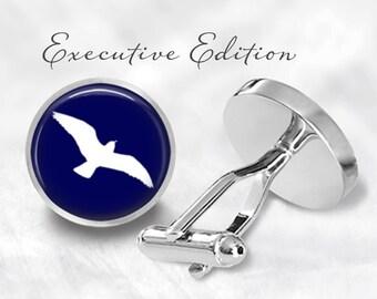 Blue Seagull Cufflinks - Seagull Cuff Links - See Bird Cufflink (Pair) Lifetime Guarantee (S0364)