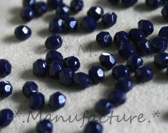 3mm (200pc) night blue opaque, faceted Czech glass round beads set