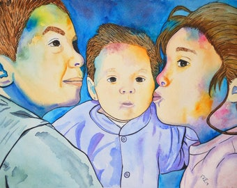 Custom portrait. 3 persons 50 x 35 cm