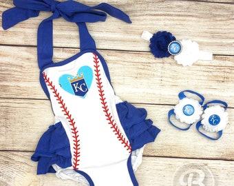 KC Royals Romper, Kansas City Royals Baby Clothes, Royals Baby Girl, Royals Game Day Outfit
