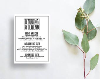 printable itinerary for wedding, wedding itinerary, wedding schedule, wedding timeline for destination wedding, welcome bag itinerary