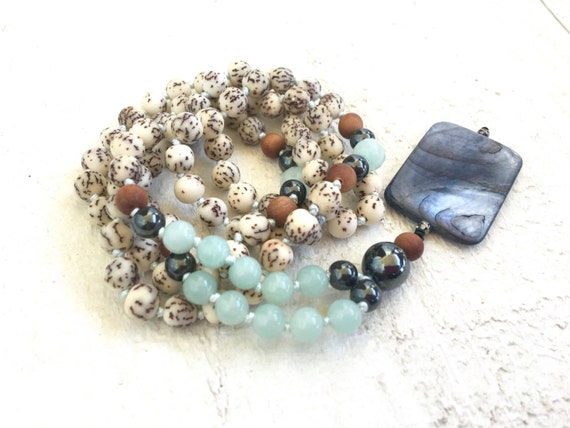 Natural Seed Mala Beads, Amazonite Mala Necklace, Salwag  Mala Beads, Bohemian Necklace, Natural Jewelry, Unique Mala Necklace, Yoga Beads