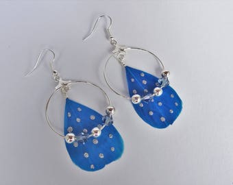 swarovski pearls and feathers, earring hoop earrings