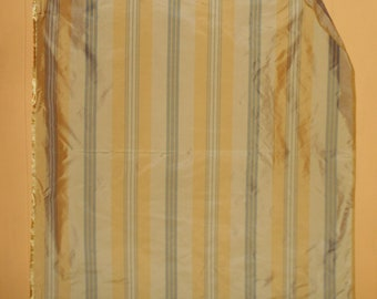 Vintage silk fabric panel from India 1980s Style Burnished Rowntree Stripe