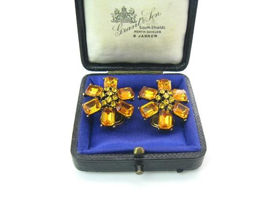 Vintage Golden Topaz Rhinestone Flower Cluster Earrings. 1960's Fashion Jewelry