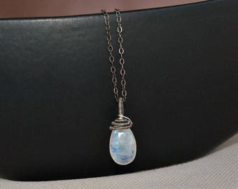 Moonstone pendant,  minimalist jewelry, antique sterling silver, wire wrapped pendant, silver moonstone jewelry
