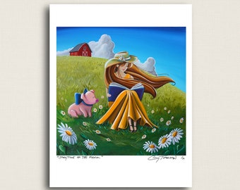 Storytime On The Farm - a cowgirl, a piggy, and the daisies - Signed 8x10 Semi Gloss Print (5/10)