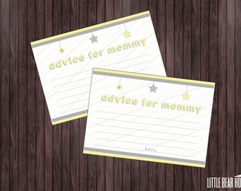 Printable Twinkle Twinkle Little Star Themed Baby Shower Advice Cards