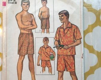 1966 Simplicity Sewing Pattern 6562 Boys Hawaiian Shirt and Swim Shorts Size 14 cut- boys shorts, boys sewing pattern, boys Hawaiian shirt