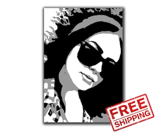 Custom Pop Art Portrait Print on canvas Personalized gift for her for him Birhtday gift Wall Decor