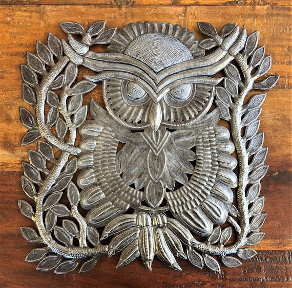 "New Metal Owl Wall Decor, Quality and Detail Craftsmanship from Haiti 17""x 17.5"""