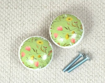Handpainted Floral Knobs, Wooden Knobs, Drawer Handles, Dresser Knobs, 3.5cm dia. Sets Available, Green theme, Upcycling Furniture