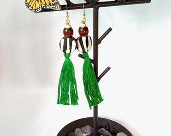 Mudcolth and Tassel Earrings
