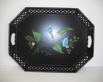 Tole Tray Hand Painted with Blue Flowers and Reticulated Rim and Handles