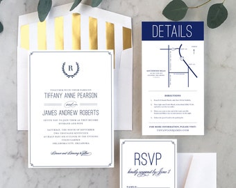 Modern Grecian Wedding Invitations