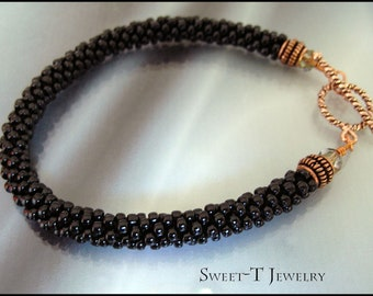 FREE SHIPPING - Beaded Kumihimo and Copper Bracelet 102