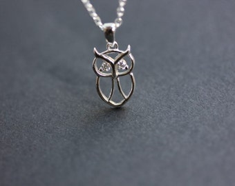Sterling Owl Necklace - Owl necklace  with CZ - Sterling silver owl necklace - delicate necklace - Bird necklace