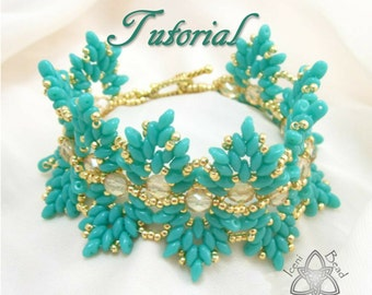 Pdf Tutorial Willow Bracelet with Super Duo Beads, Beading Pattern English Only,
