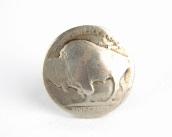 Vintage Silver Buffalo Nickle Ring - Authentic Coin Circulated in the 1930's USA - Ring Made in the 60's - Men's Women's - Size 5.0