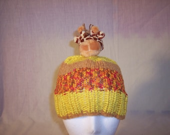 Bright Yellow and Brown Beanie with Giraffe topper Child/Young Adult Size
