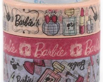 209015 Barbie lipstick perfume Washi Masking Tape deco tape set 3pcs Shinzi Katoh