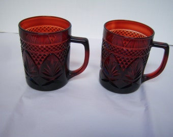 Vintage Cris D'Arques Durand, Ruby Red Arcoroc Luminarc, Two Mugs,  Press Cut Glass, Total Of Four Mugs