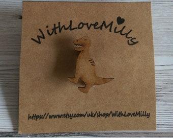 Cute Handmade Wooden T-Rex Dinosaur Brooch