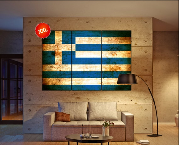 Greece flag canvas wall art art print large  canvas wall art print Greece country flag Wall Home office decor interior Office Decor