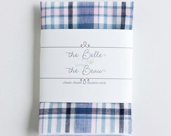 Pocket Square, Pocket Squares, Handkerchief, Mens Pocket Square, Boys Pocket Square, Wedding Pocket Squares - Blush And Navy Madras Plaid