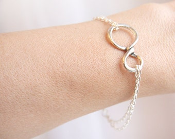 Mothers Day Gift Infinity Sterling Silver Friendship Bracelet Best Friends Gift for Sister Womens Gift for Mom for her for wife girlfriend