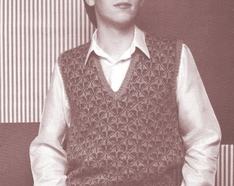 Instant   Download PDF Knitting Pattern a  Handsome Mans Slip-Over/ Fair Isle Mens Vest/Knitting Pattern- A206